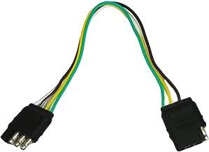 ABN Trailer Wire Extension, 1ft, 4-Way 4-Pin Plug Flat 20 Gauge – Hitch Light Trailer Wiring Harness Extender