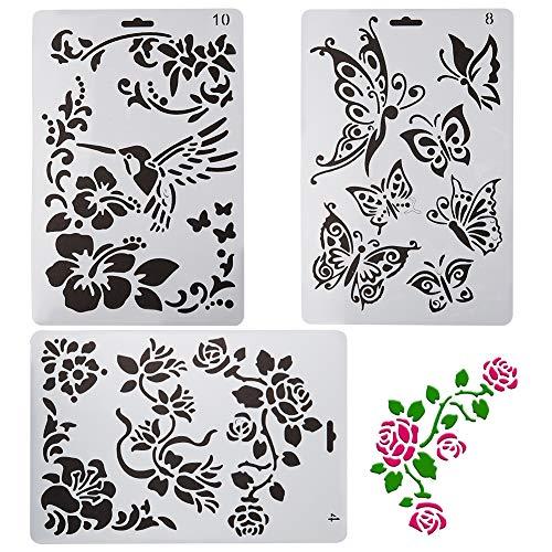 GORGECRAFT Lot de 3 pochoirs de Peinture en Plastique Motif de Fleur de Papillon pour planificateur, Album, Journal, Cartes, Blanc