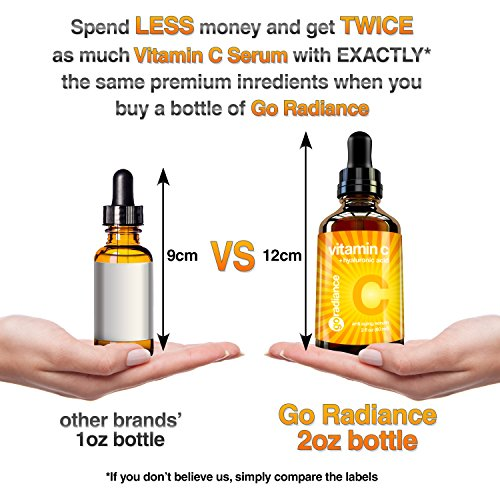 Vitamin C Serum for Face - HUGE 2 oz - Vegan, Cruelty-Free, Organic, Eco-Friendly - with Pure Hyaluronic Acid & Vit E - Best Natural Formula for Wrinkles & Sun Damage