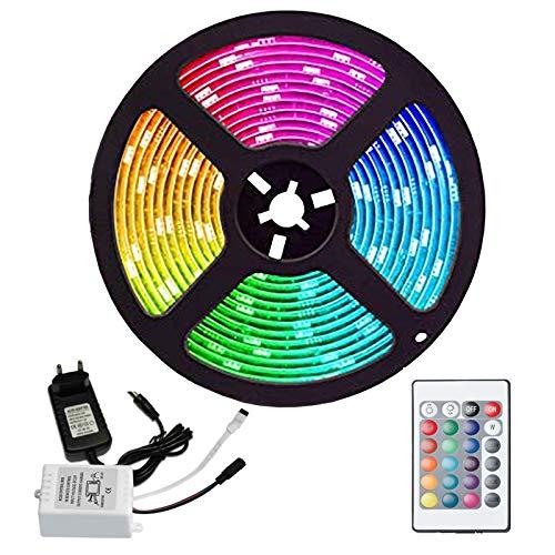 Hengda 3M 180LEDs Led Strip, LED Streifen RGB SMD5050 LED Band, 24-Tasten IR Fernbedienung und 12V Netzteil, LED Lichtband für Zuhause, Küche, Weihnachten