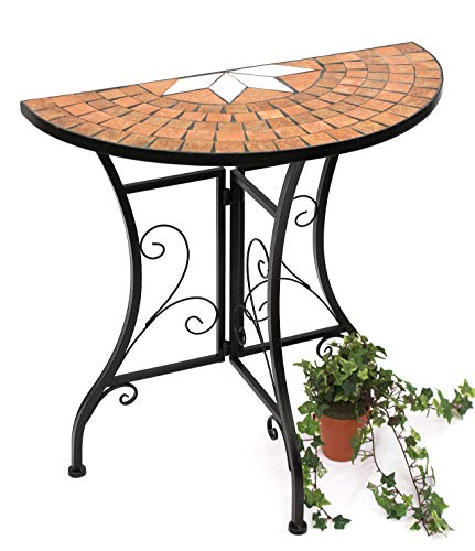 DanDiBo Tisch Halbrund Konsolentisch Wandtisch 120041 Beistelltisch Metall Mosaik 70 cm