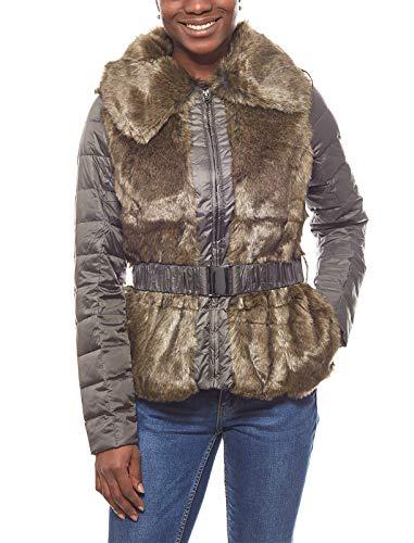 Laura Scott leichte Jacke Damen Steppjacke mit Fake Fur Winterjacke Khaki, Größenauswahl:44