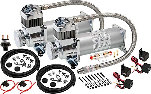 Vixen Horns Heavy Duty Dual Onboard Air Compressors 200 PSI. Universal Replacement for Truck/Car Train Horn/Suspension/Ride/Bag kit/System. Fits All 12v Vehicles Like Semi/Pickup/Jeep VXC8301PRODP