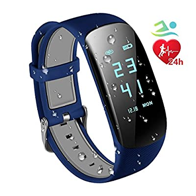 Fitness Trackers IP67 Waterproof with Heart Rate Monitor,Smart Fitness Bracelet Sport Pedometer Auto Activity Tracker, Step Tracker, Calorie Counter, Sleep Monitor for iOS Android Smart Phone by RobotsDeal