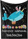 Manta de forro polar para mamá Narwhal, divertida Doo Doo Shark Happy Easter- acogedora manta cálida y difusa para sofá, cama, otoño, invierno, primavera, bonito regalo de cumpleaños, 127 x 101 cm