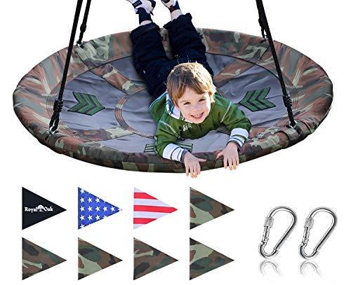 Royal Oak Saucer Tree Swing,Giant 40 Inches with Carabiners and Flags, 700 lb Weight Capacity, Steel...