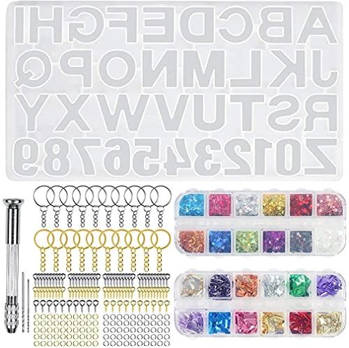 Moldes de resina de silicona con letras y números, moldes de fundición de resina epoxi para llavero colgante y otras decoraciones de bricolaje