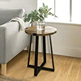WE Furniture Rustic Farmhouse Round Metal Side End Accent Table Living Room, 18 Inch, Brown Reclaimed Barnwood