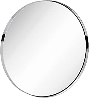 Hamilton Hills Contemporary Polished Metal Silver Wall Mirror | Glass Panel Silver Framed Rounded Circle Deep Set Design (30