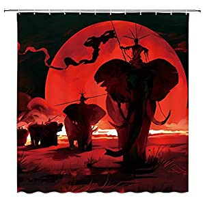 Elephant Shower Curtain,Tribe War Animals Abstract Moon Profile Conceptual Illustration Bathroom Decor Set with Hooks,71X71 Inchs,Fabric,Red Black