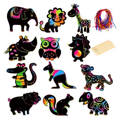 LANMOK 48Stk Kinder Kratzbilder Safari Tiere, Dschungeltiere Geschenkanhänger DIY Basteln Set Tierwelt Lernstoffe Jungen Waldtiere Regenbogen Kratzbilder für Kindergeburtstag Tier Party