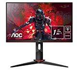 AOC 24G2U5/BK Monitor da Gaming Flat 23.8' IPS, Frameless, FHD 1920 x 1080 a 75 Hz, Tempo di Risposta 1 msec/MPRT, 2 x HDMI, 1 DP, 4 x USB, Speaker, Regolabile in Altezza, FreeSync, Nero/Rosso