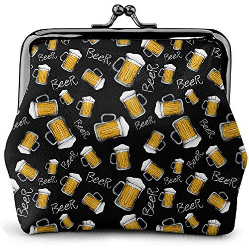 Bier Mok Patroon Lederen Coin Purse Kisses Lock Change Pouch Vintage Sluiting Gesp Portemonnee Kleine Vrouwen