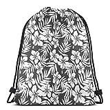 Bolsas de bapa con cordón para deporte, gimnasio, cincha, viaje, para mujeres, hombres, niños, hibisco, flores exóticas, helecho, hojas de naturaleza, diseño de plantas temáticas