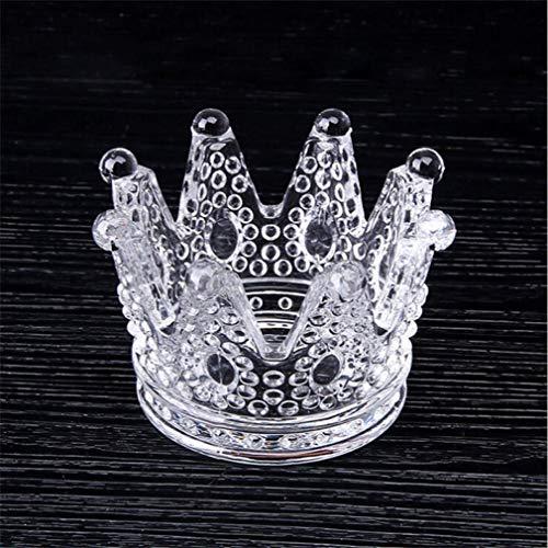AMITD glazen bakje voor sigaret creatieve kroonvorm voor buiten- en buitendecoratie rond design sigarettenpunt (kristal)