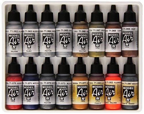 Vallejo Lot de 16 pots de peinture acrylique pour Air Brush Couleurs assorties Effet métallisé