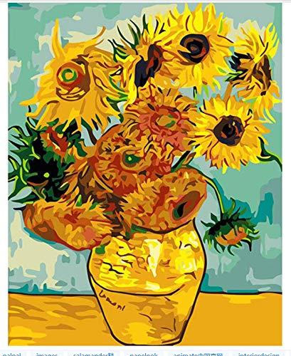 Famoso Cuadro De Girasol Van Gogh Abstracto En La Pared Acrílico Pintura Por Números Pintar Por Número Colorear Por Números Sin Marco 40x50cm
