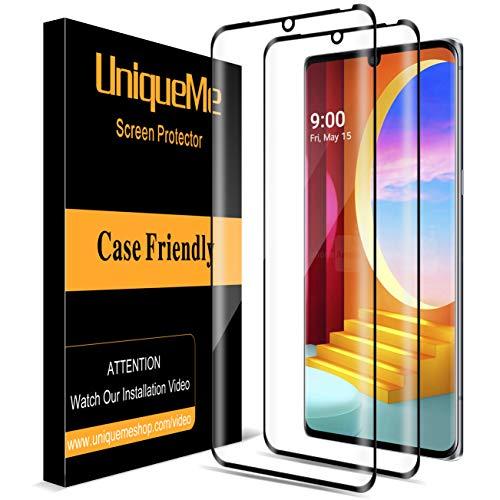 (2 팩)UNIQUEME 화면 보호기 호환을 위해 LG 벨벳 | LG 벨벳 5G UW 부드럽게 한 유리 3D 전체 범위 영화 HD(쉬운 설치)가장자리로 보호