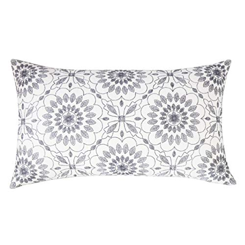 SLOW COW Cotton Linen Embroidery Decorative Lumbar Throw Pillow Cover Rectangular Pillow Cover Cushion Cover 12 x 20 Inches Dark Gray Grey