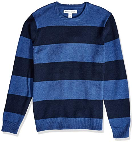 Amazon Essentials Men's Midweight Crewneck Sweater, Blue/Navy, Large