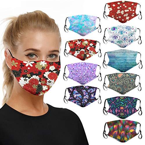 SomeTeam 10 Stück Lustige Mundschutz 3D Waschbar Mundschutz mit Motiv, Mehrweg Atmungsaktiv Gesichtsschutz Halstuch Bandana Tuch, Mund und Nasenschutz