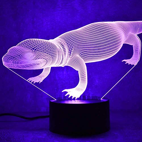 Tatapai Ghost Light 3D USB Led Visual Bedside Table Colorful Sleep Animal Lamp Creative Lizard Light Fixture-Touch LED Night Light for Kids (Color: Touch)