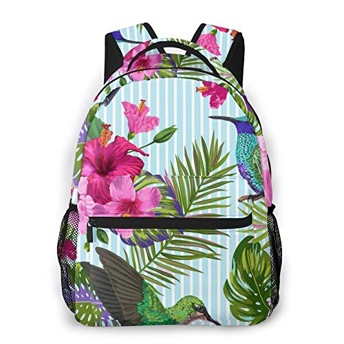 NiYoung School Shoulder Book Bags, Big Capacity Backpack for School Travel Walking Cycling, Hummingbird Art with Orchid Flowers Birds Travel Hiking Bag & Day Pack for Man/Women/College Teen Girls