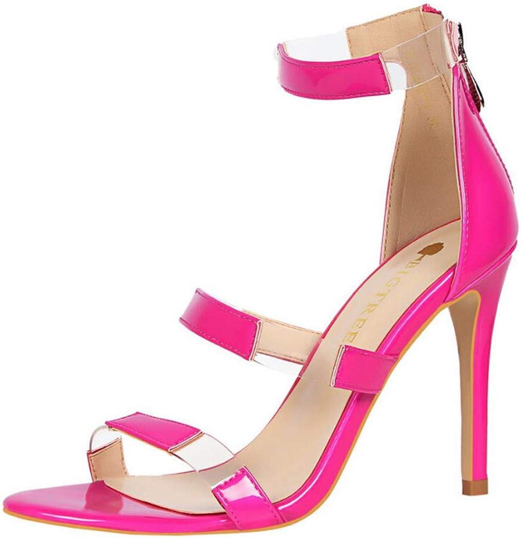 HOYURI Summer Women's Sandals Sexy High Heel Solid Stiletto Fashion Back Zipper Hollow Sandals
