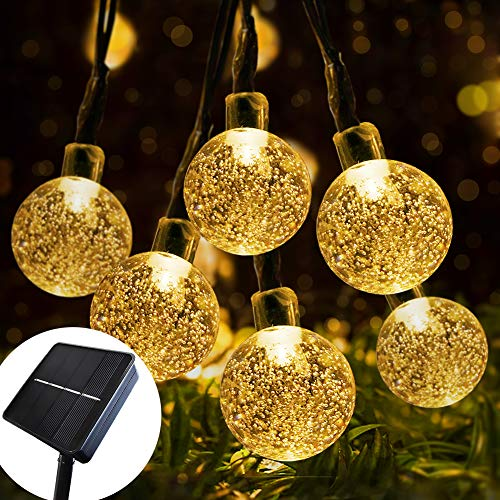 Solar String Lights Outdoor Garden Fairy Lights, 7M/24FT 50 LED, Solar Powered, Waterproof Crystal Ball, 8Modes, BYSMAH for Tree Garden Patio Yard Parties Home Wedding Indoor Outdoor(Warm White)