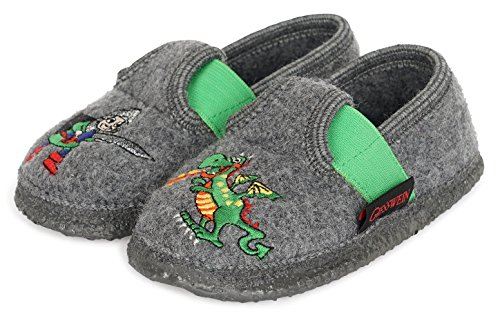 GIESSWEIN Kinderhausschuh Thuine - warme Jungen Hausschuhe   leichte Slippers aus Wollfilz   Flexible Weite   rutschfeste Latex Sohle   Filz Pantoffeln