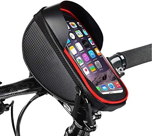 First Choice Bike-Lenker-Tasche, Telefonhalter-Beutel-Tasche, wasserdichte Frontrahmen-Top-Rohr-Lenker-Taschen mit Touchscreen-Gehäuse Fahrrad Aufbewahrungstasche Radspackung for Mobiltelefon unter 6