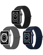 WNIPH Pack 3 Solo Loop Strap Compatibel met Apple Watch Strap 38mm 40mm, Verstelbare Elastieken Stretchy Nylon Gevlochten Sport Vervanging Polsband Compatibel met iWatch Series 6/5/4/3/2/1, SE