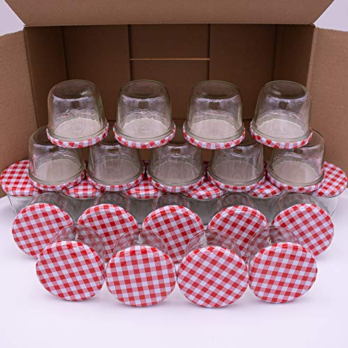 flaschenbauer.de 24er-Set Sturzgläser 230 ml, Twist-Off-Deckel
