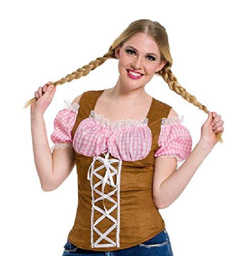 Top tirolese Oktoberfest rosa donna taglia L-XL