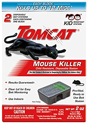 Tomcat Mouse Killer Disposable Station for Indoor Use - Child Resistant (2 Stations, with 1 Bait Each)