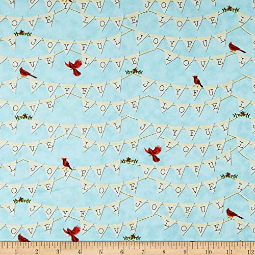 Henry Glass & Co. Sheltering Snowman Joyful Banner Allover Quilt Fabric, Blue, Quilt Fabric By The Yard