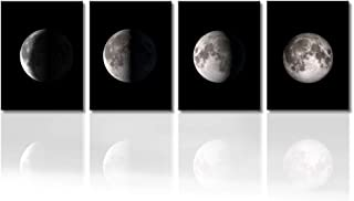 """Picabala Moon Canvas Wall Art Decor Modern Abstract Space Painting Photo Giclee Print on Canvas Large Framed and Stretched Artworks Decorative Hanging Wall Picture for Home Office Decoration-12""""×16"""""""