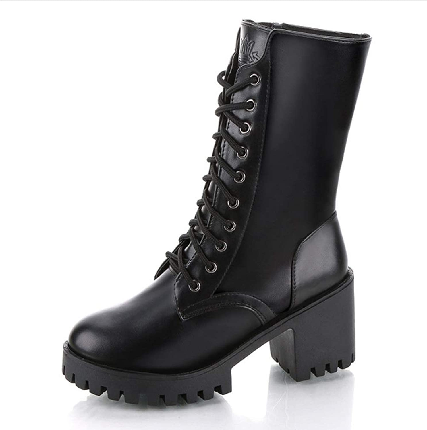 Women Calf Biker Boots Casual Boots Grip Sole Lady Autumn Winter Army Transer Combat Boots Buckle Low Heel shoes Thick Block Chunky Heels Boots