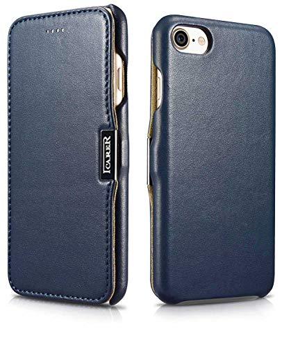 ICARER Tasche passend für Apple iPhone SE 2020, iPhone 8 & iPhone 7 (4.7 Zoll), Hülle mit Echt-Leder Außenseite, Schutz-Hülle seitlich aufklappbar, Ultra-Slim Cover, Etui, Blau