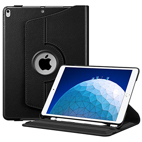 "FINTIE Funda para iPad Air 10.5"" (3.ª Gen) 2019 / iPad Pro 10.5"" 2017 con Soporte Incorporado para Pencil - Carcasa Giratoria con Función de Auto-Reposo/Activación, Negro"