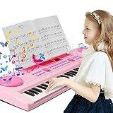 Clavier de piano 61 touches multifonctions, clavier de piano portable, Clavier instrument de musique avec support Rose