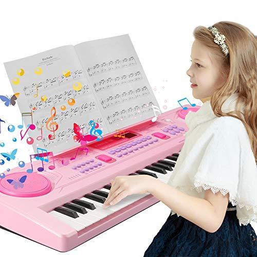 Klaviertastatur 61 Tasten, Multifunktions Klavier Musik Klaviertastatur, Tragbare Tastatur Musikinstrument mit Ständer Rosa
