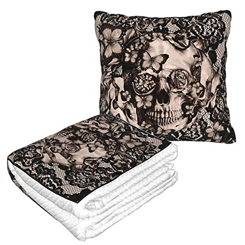 YISHOW Vintage Victorian Gothic Lace Black Skull Rose Warm Ultra Soft Fleece Couch Travel Chair Throw Pillow Blanket for Women Men Livingroom Bedroom Camping Cars Airplane