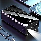 Ashey Chargeur Portable 50000, 50000Mah Power Bank, Ultra-Compact Batterie, Technologie De Charge Haute Vitesse Chargeur De Téléphone pour Iphone, Samsung Et Plus,Noir
