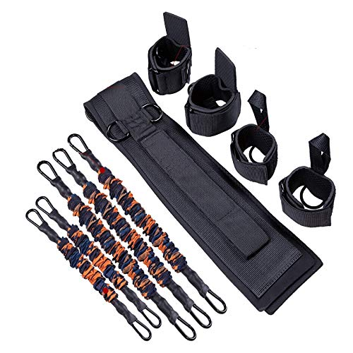 TOCO FREIDO MMA Boxing Bands | Speed and Agility Training System, Resistance Training Bands with Waistbands for Body Training, Taekwondo Yoga Boxing Kick Thai Punch Karate Running Heavy Exercise