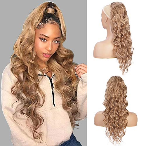 Long Wavy Ponytail Extensions Synthetic 24 inch Ponytail Clip on Drawstring Ponytail for Women