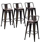 Andeworld Bar Stools Set of 4 Counter Height Stools Industrial Metal Barstools with Wooden Seats( 26 Inch, Distressed Gold)