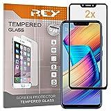 REY 2X Protector de Pantalla 3D para Huawei Honor Play, Negro, Protección Completa, 3D / 4D / 5D