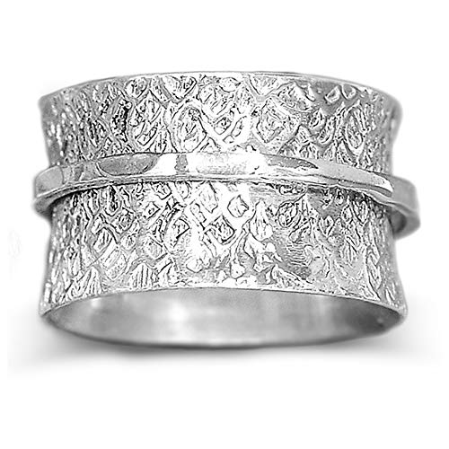 Boho-Magic 925 Sterling Silver Spinner Ring for Women Hammered Fidget Ring Wide Band (11)