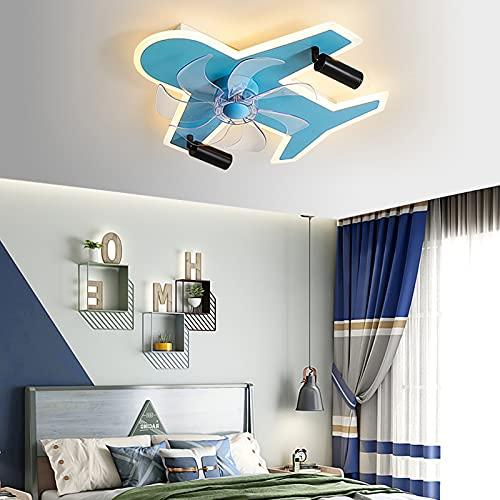 Ventilador De Techo con Iluminación Silencioso Ventilador De Techo A Domicilio Ventilador Mudo Ventilador Casa Cama Dormitorio Pequeño Mini Tipo Brisa Fuerte Viento,Azul
